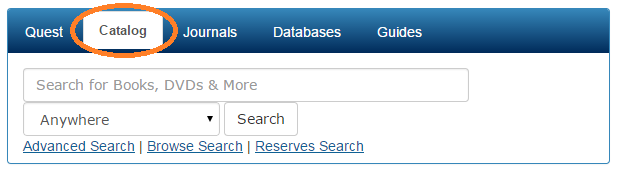 Screenshot showing the catalog search box on the library home page