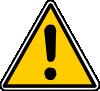 Triangular yellow caution sign