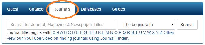 Screenshot showing the Journals tab