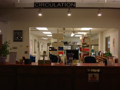 Circulation desk in Simpson Library