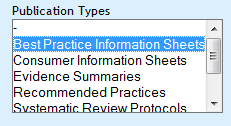 best practice information sheet menu option