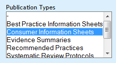 Consumer information sheets menu option