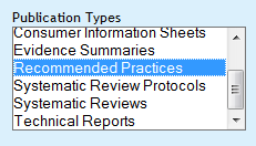 recommended practice menu option