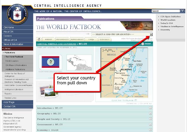 Screen shot of CIA World Factbook