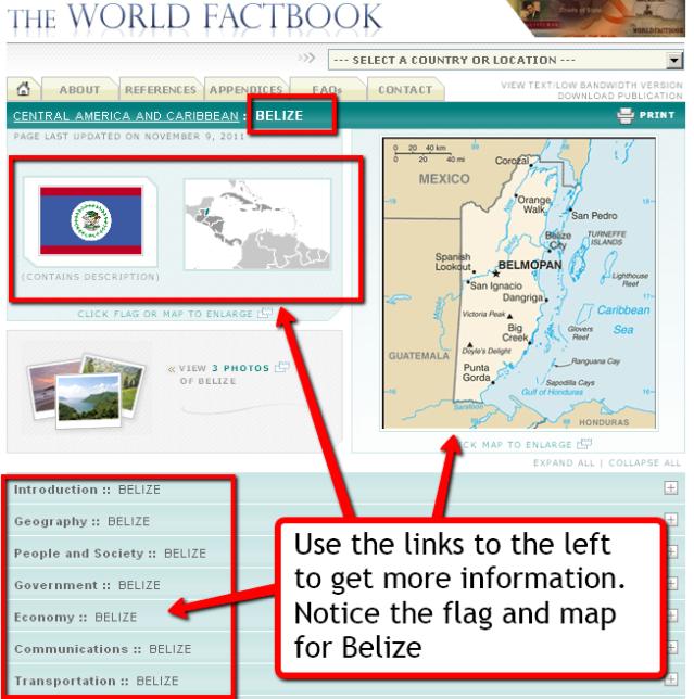 CIA World Factbook screen shot