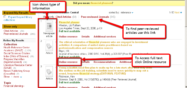 Image of Primo results showing links to peer reviewed articles