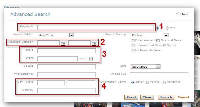 Screenshot of AP Images advanced search