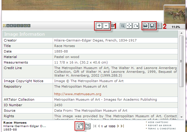 Screenshot of Artstor image view