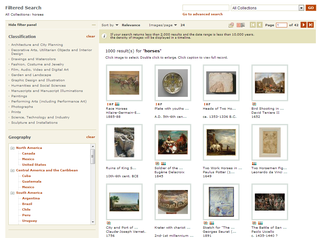 Screenshot of ARTstor search results page with thumbnails on right and filtering options on left