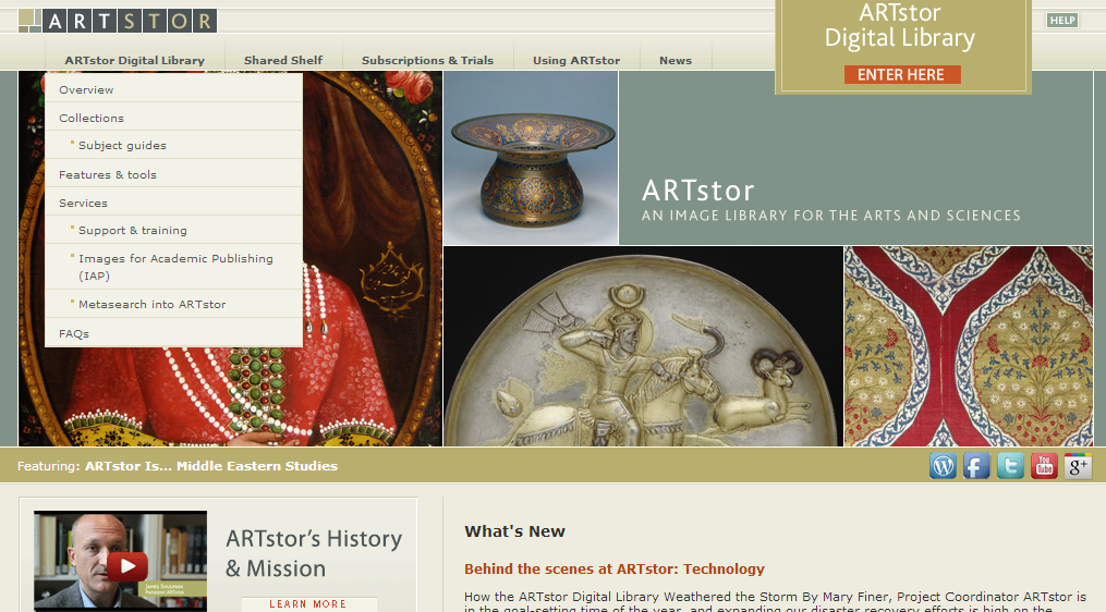 ARTstor welcome page with Enter Here link at upper right