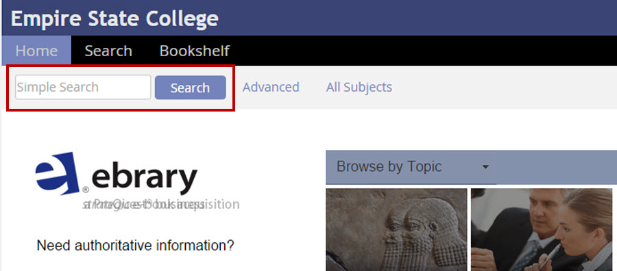 Screenshot close up of the Simple Search box at the top left of the Ebrary homepage.