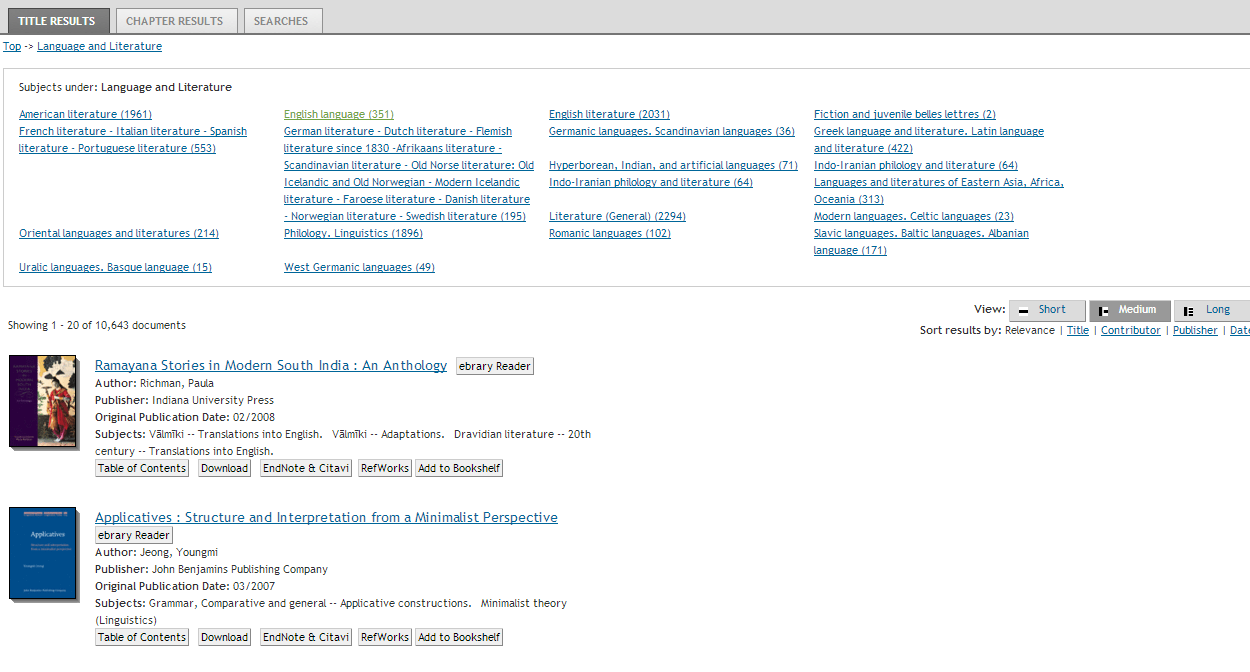 Screenshot of Ebrary Subjects under Language and Literature page