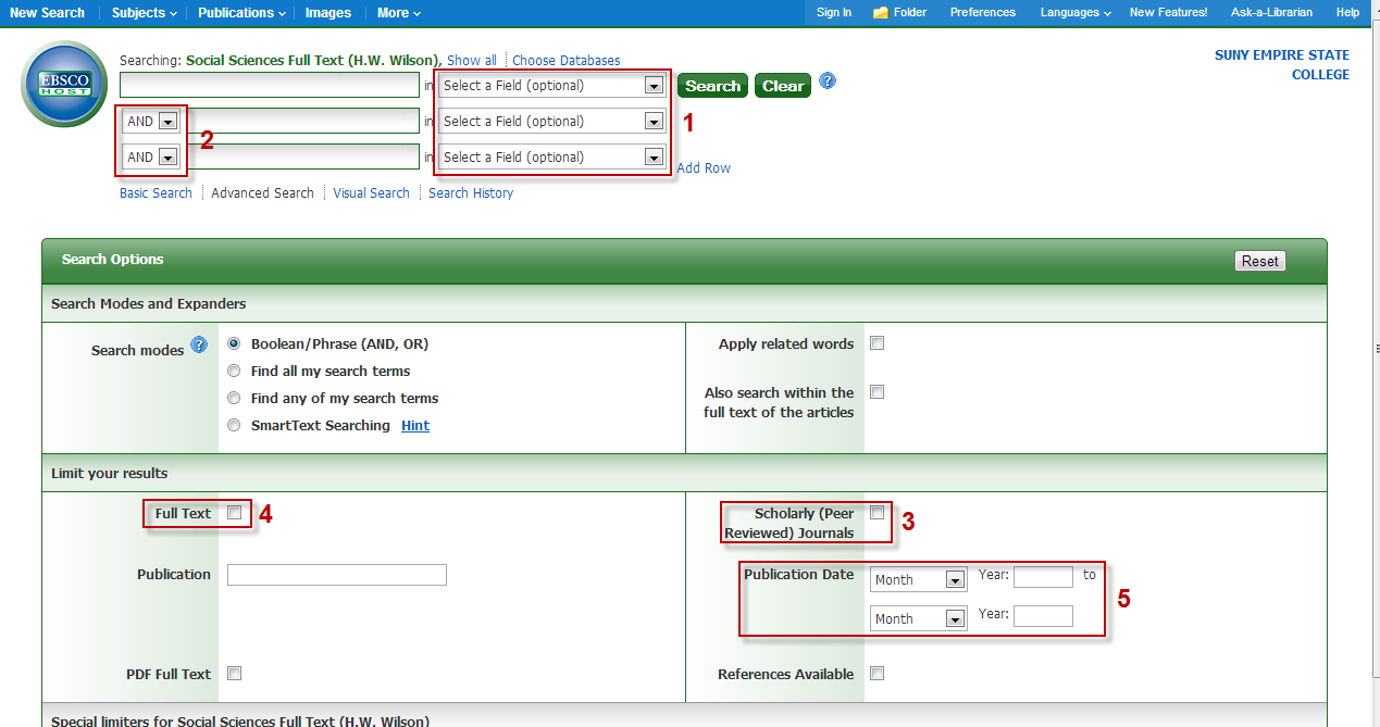 Screenshot of EBSCO advanced search