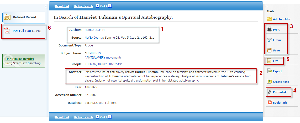 Screenshot of EBSCO article information page