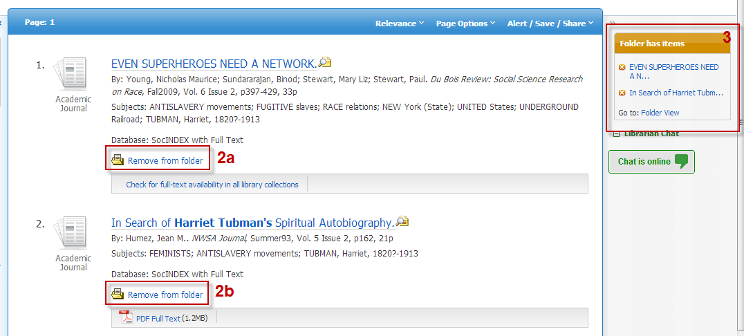 Screenshot of EBSCO search results with items in folder