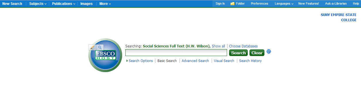 Screenshot of EBSCOhost basic search screen