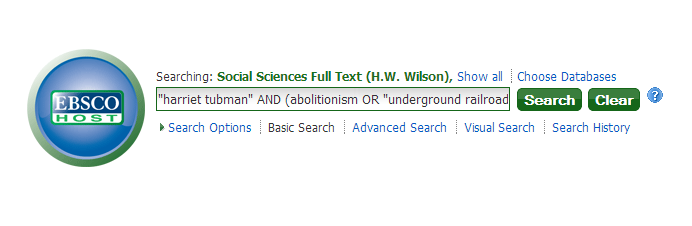 Screenshot of EBSCOhost basic search with keywords typed in