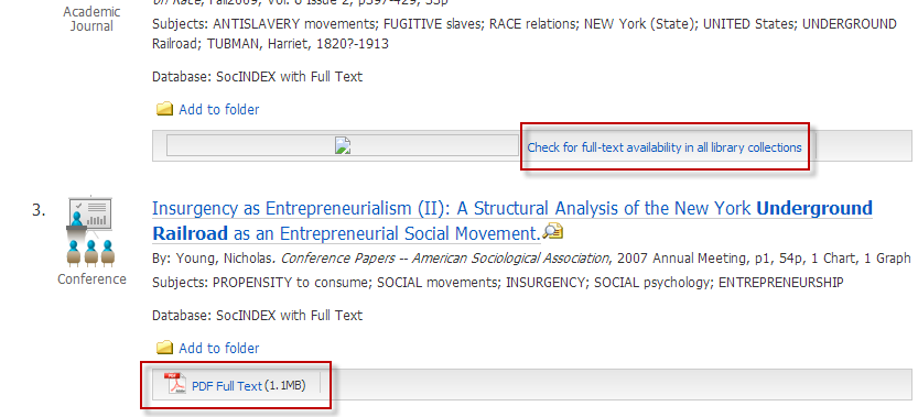Screenshot of EBSCOhost search results with full-text and article linker links highlighted