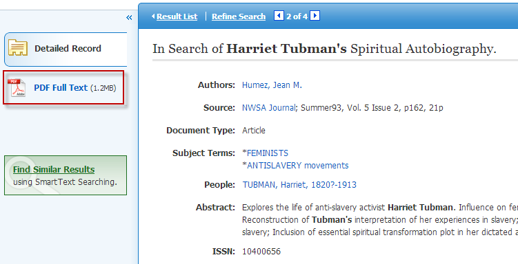 Screenshot of EBSCOhost article info page with full-text link highlighted