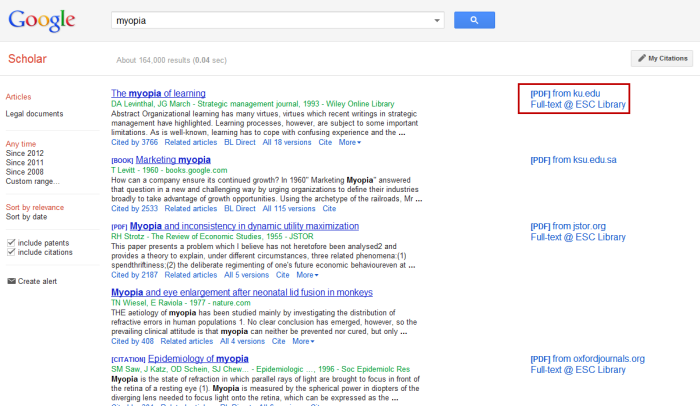 Screenshot of Google Scholar search, routed through the library's proxy server, with links to full-text highlighted.