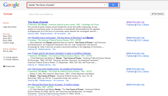 Screenshot of Google Scholar search with the search box highlighted.