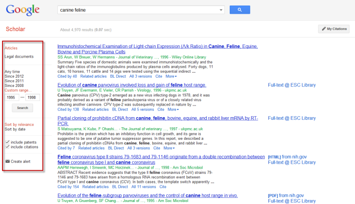 Screenshot of Google Scholar search results list with the left column options highlighted.