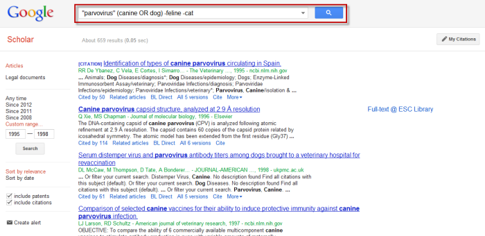 Screenshot of Google Scholar with search box highlighted.