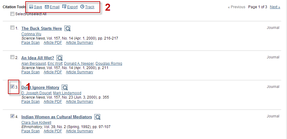 Screenshot of JSTOR search results list
