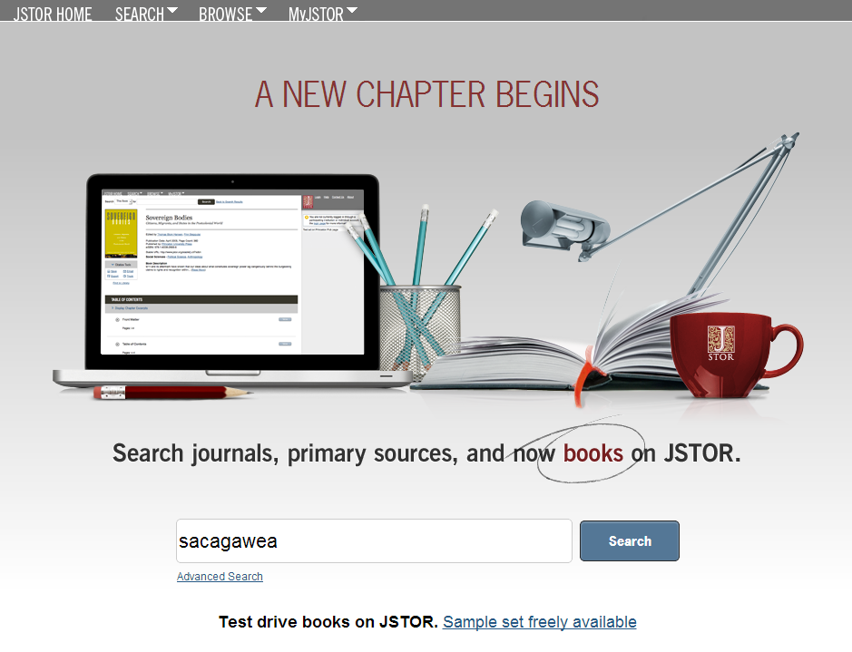 Screenshot of JSTOR basic search
