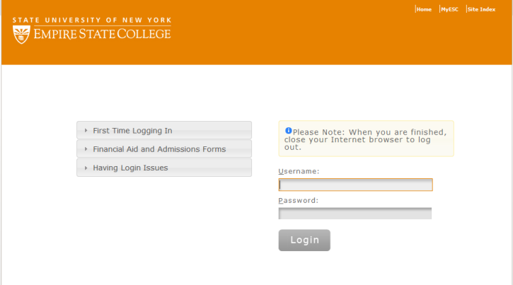 screenshot of the college login page