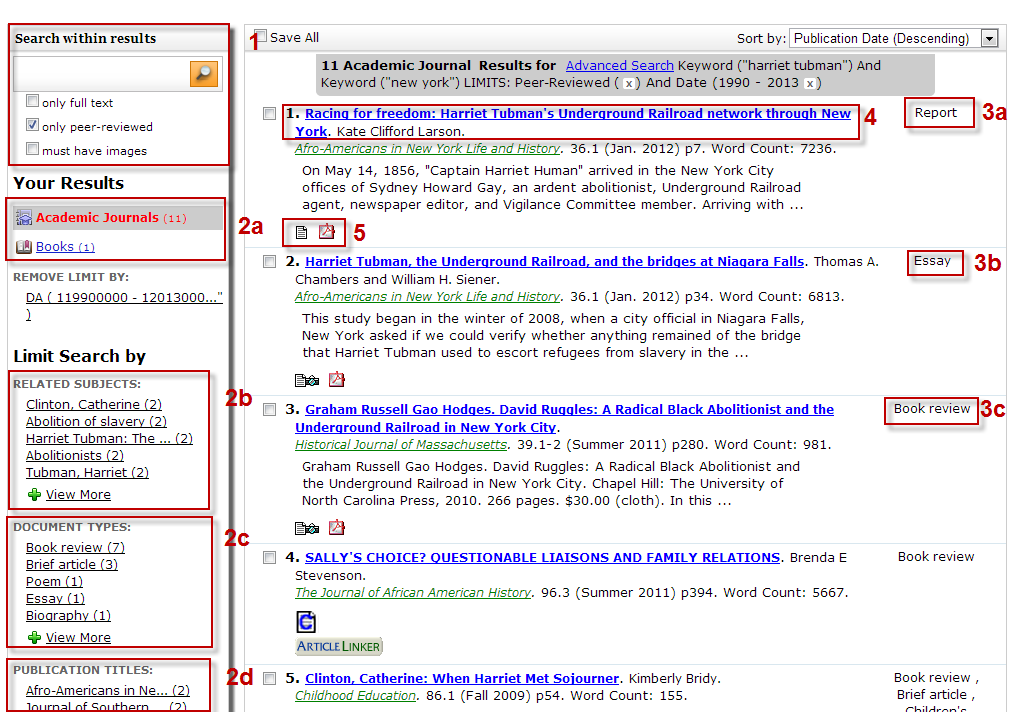 Screenshot of Academic OneFile search results list