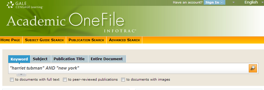Screenshot of OneFile basic search