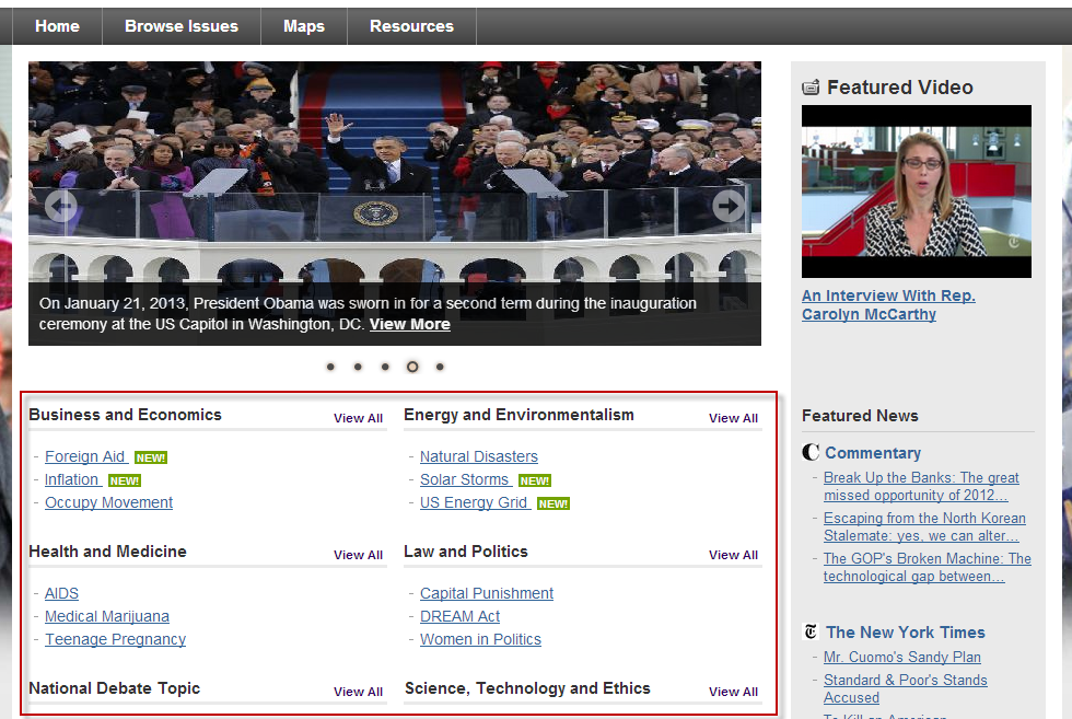 Screenshot of Opposing Viewpoints browse issues screen