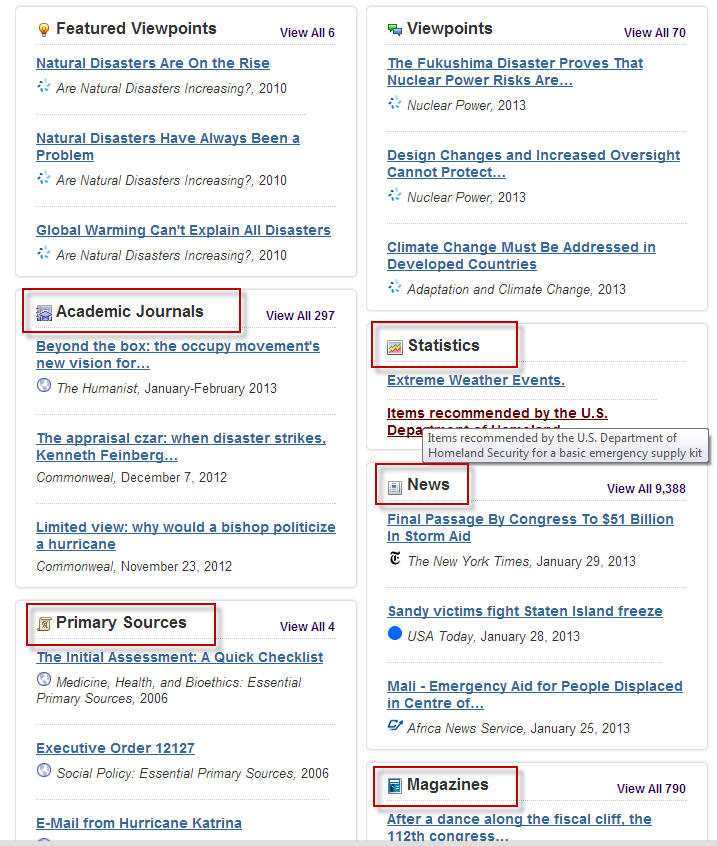 Screenshot of Opposing Viewpoints browse results page