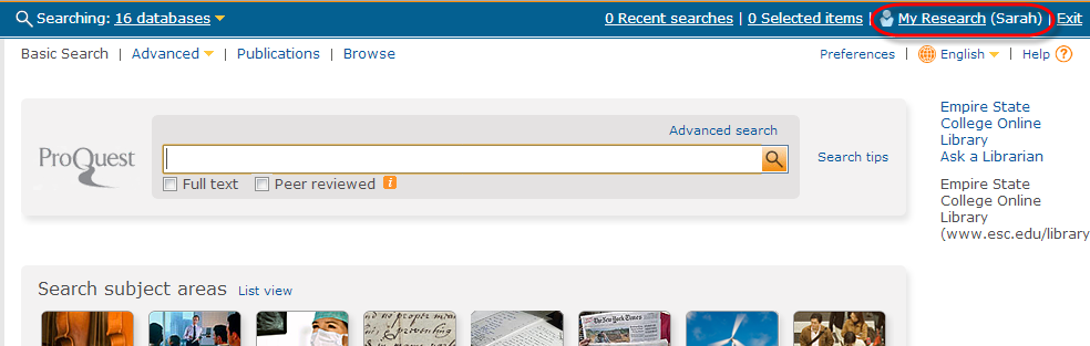 Screenshot of ProQuest basic search screen with My Research link highlighted