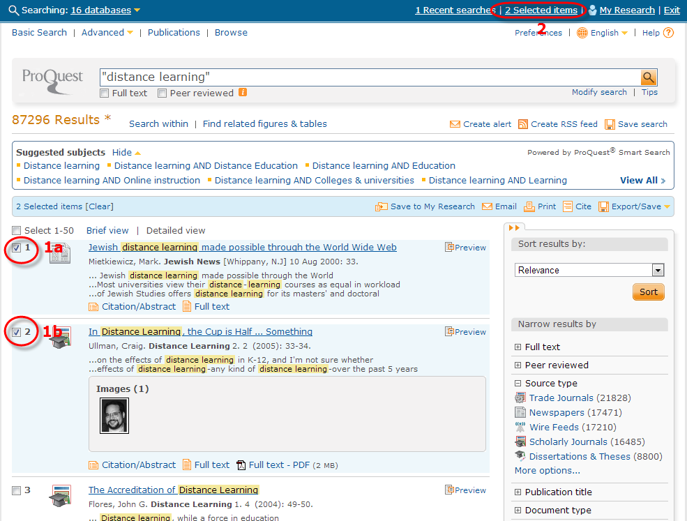 Screenshot of Proquest search results list with selected items