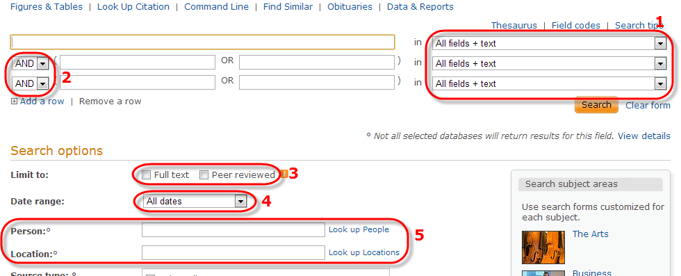 Screenshot of ProQuest advanced search