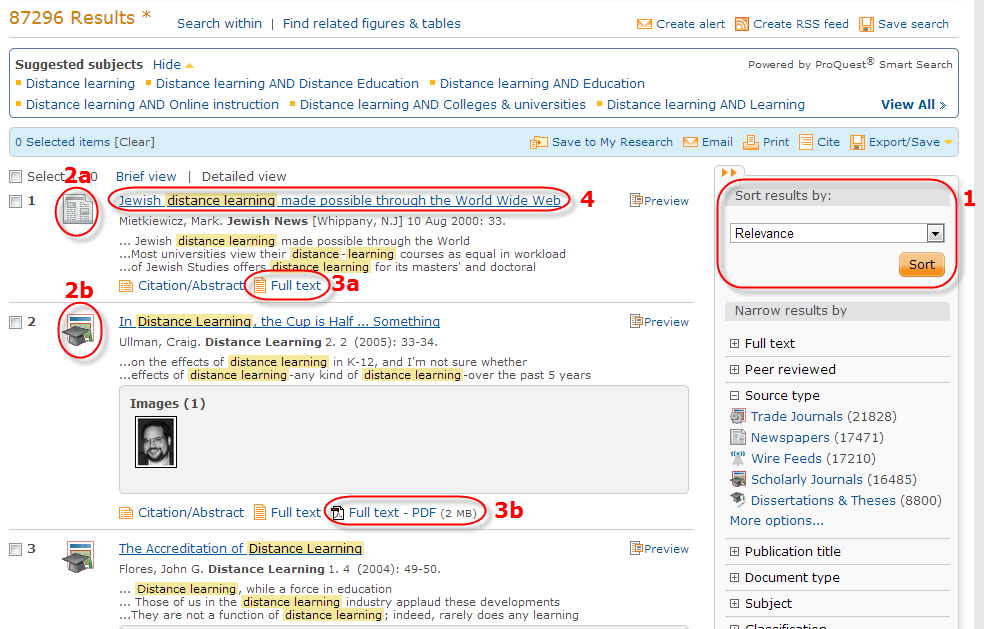 Screenshot of Proquest search results page