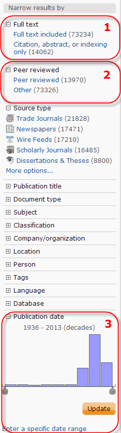 Screenshot of Proquest results list filter options