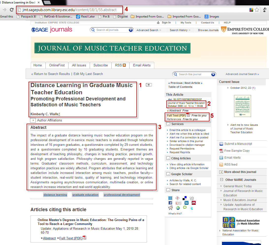 Screenshot of Sage Journals article information page