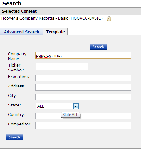 Screenshot of Westlaw News & Business Hoover's Company Records Basic Search