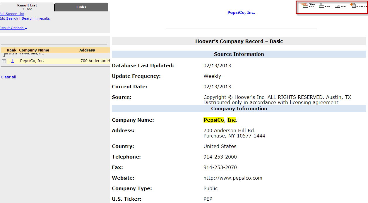 Screenshot of Westlaw Hoovers Company Record
