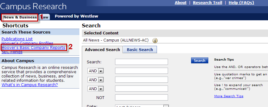Screenshot of Westlaw news & business search