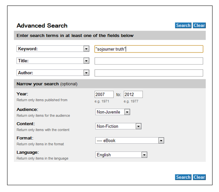 Screenshot of the WorldCat advanced search window.