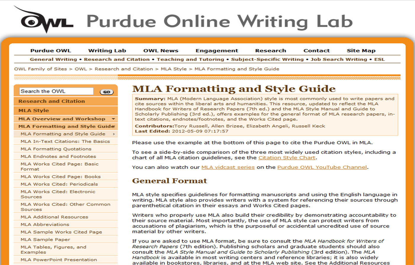 Purdue Owl style guide