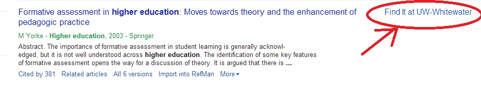 Google Scholar Find It sample