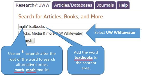 searching for textbooks using Research at UWW