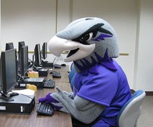 Willie Warhawk takes an online course