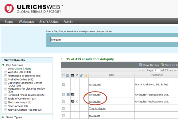 Screenshot of an Ulrich's Web search results list