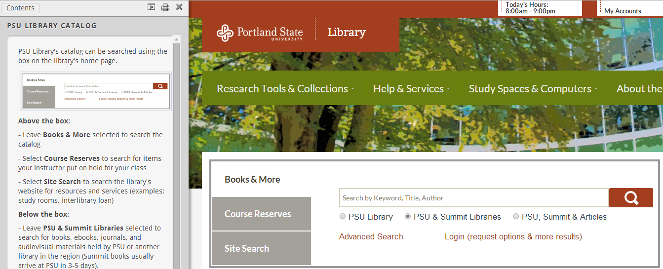 screenshot and link to library catalog tutorial